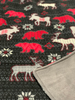 Wild Life Aspen Animals Minky Blanket with Deer, Bears Buffalo