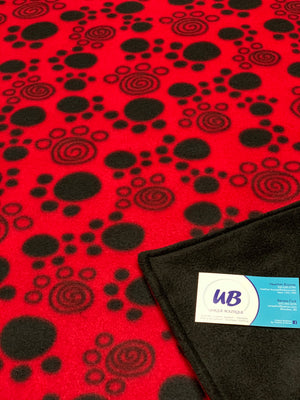 Small Pet Size Red Paw Print Blanket with Black Fleece Backing