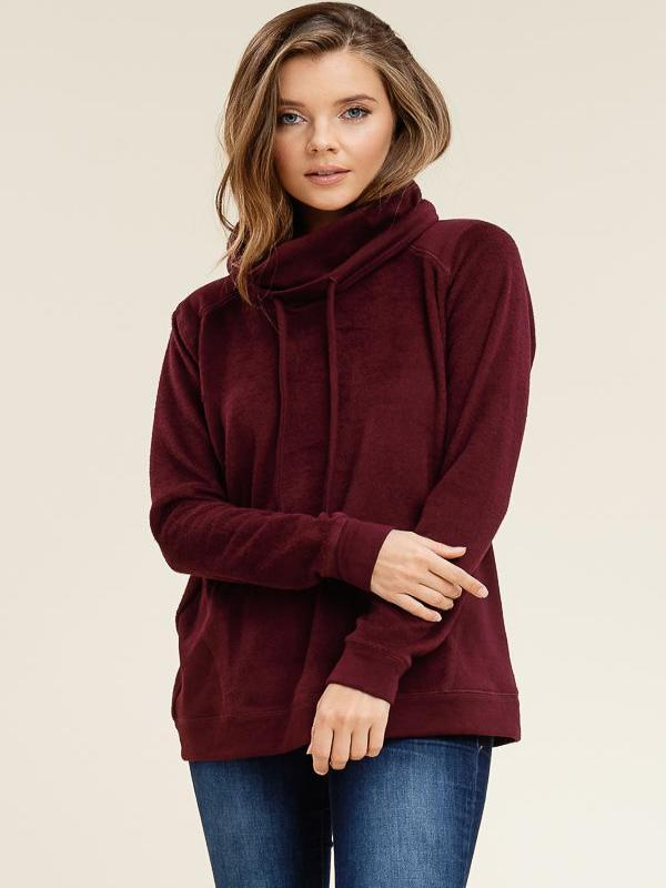 Burgundy  Brushed Cowl Neck Top  SOFTNESS GALORE!!