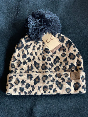 Cheetah Animal Print CC Beanie with Black Pom