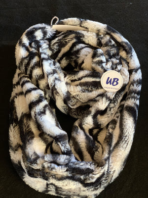 Black & White Zebra Striped Minky Infinity Scarf