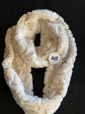 Ivory Sequined Minky Infinity Scarf
