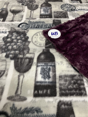 Wine Plush Blanket backed with SOFT Plum Minky Adult Size
