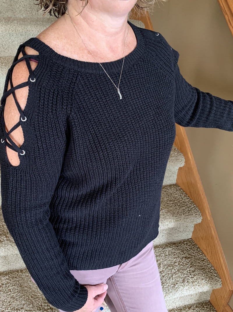 Black Criss Cross Shoulder Sweater