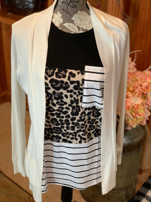 Lovely Lady Leopard Print Striped Pocket Top