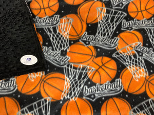 Basketball Fleece Blanket with Black Minky Cuddle Dot