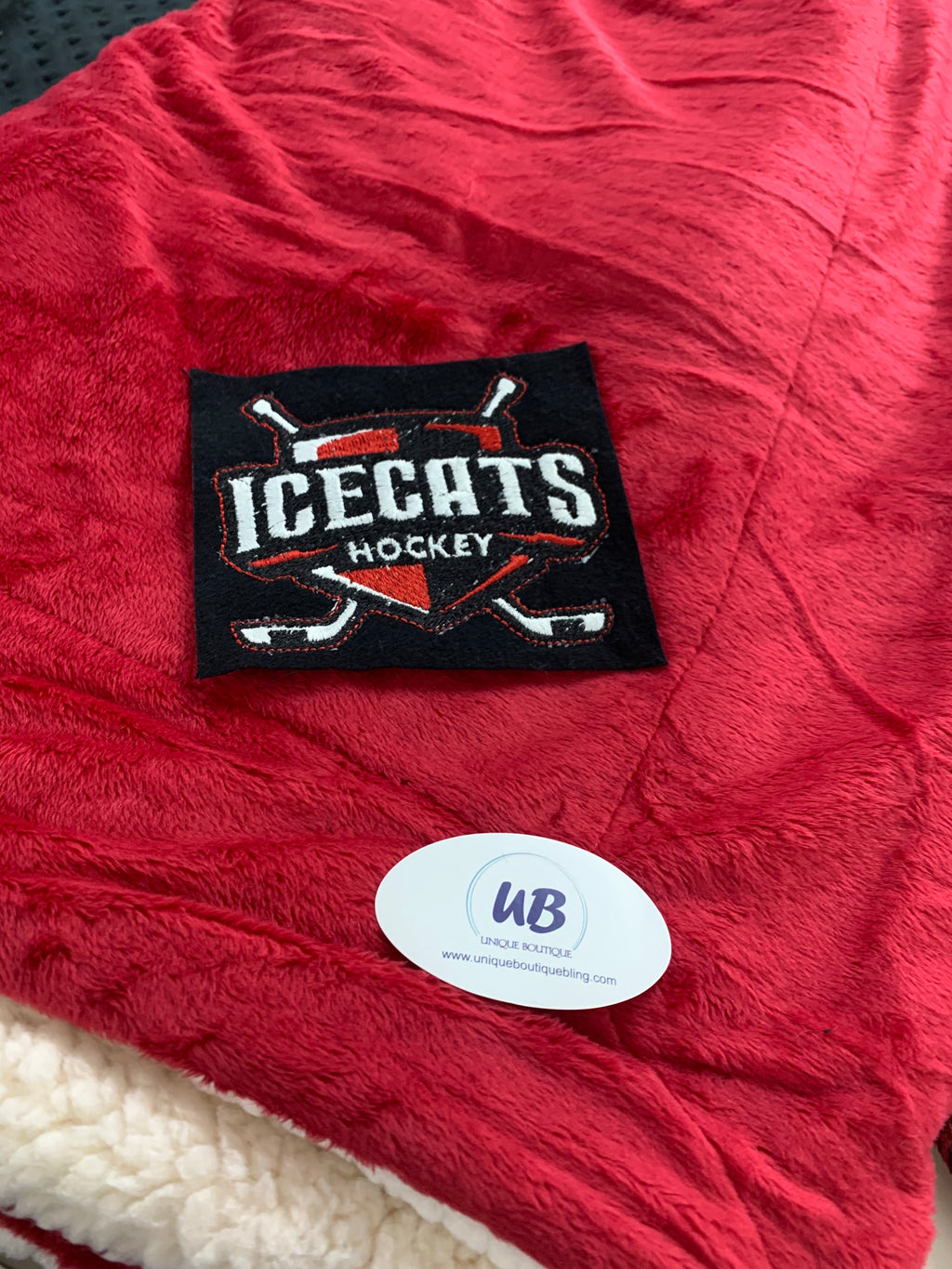 Red Minky Sherpa Blanket with Embroidered Ice Cats