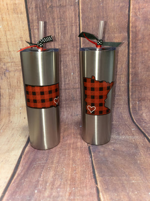 Buffalo Plaid State Silver Tumbler - More Options