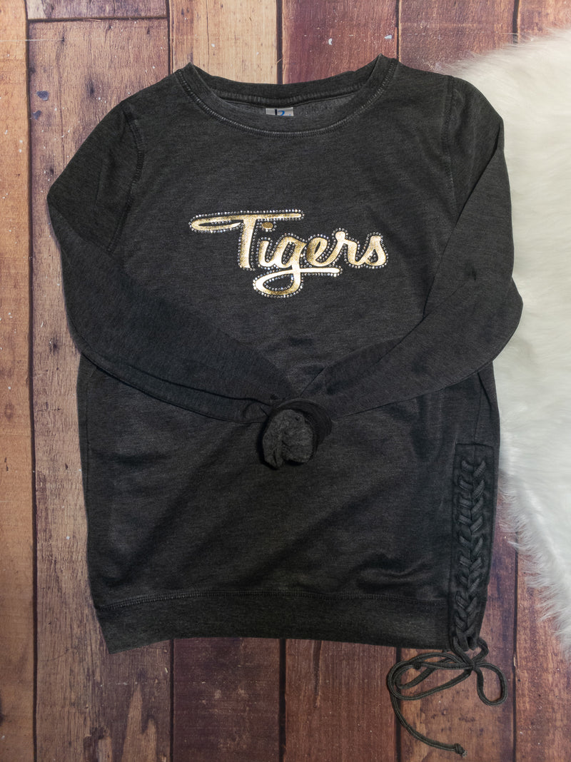 Tigers Gold Metallic and Rhinestones Side Lace-Up