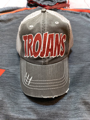 Trojans Red Sparkle Trucker Hat