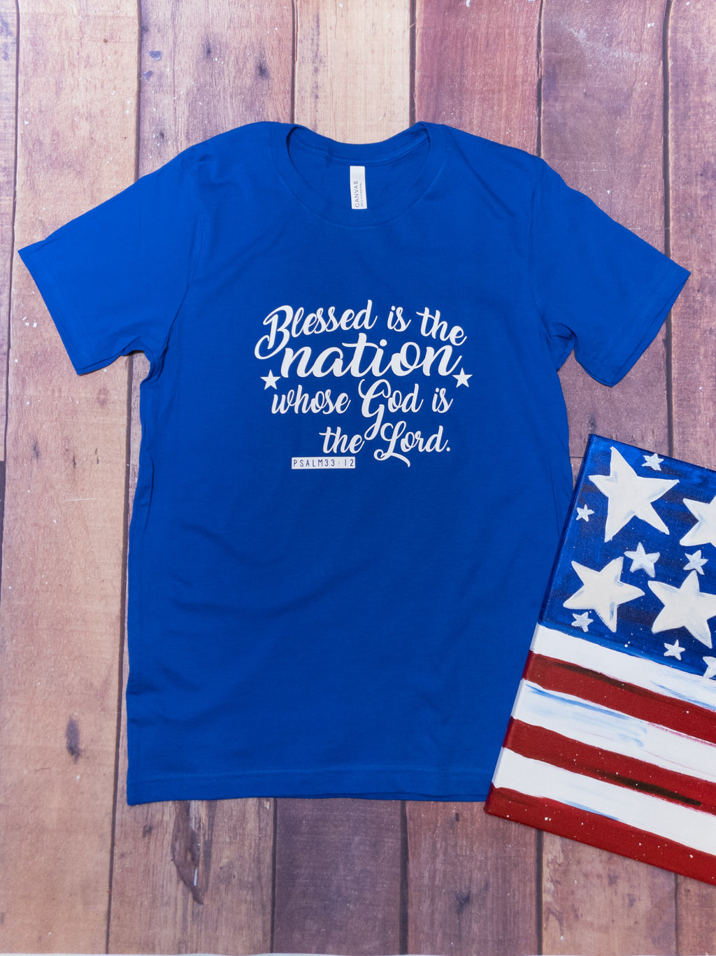 Blessed Is The Nation Psalm 33:12 Graphic Tee
