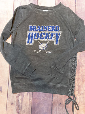 Brainerd Hockey Rhinestone Side Lace-Up