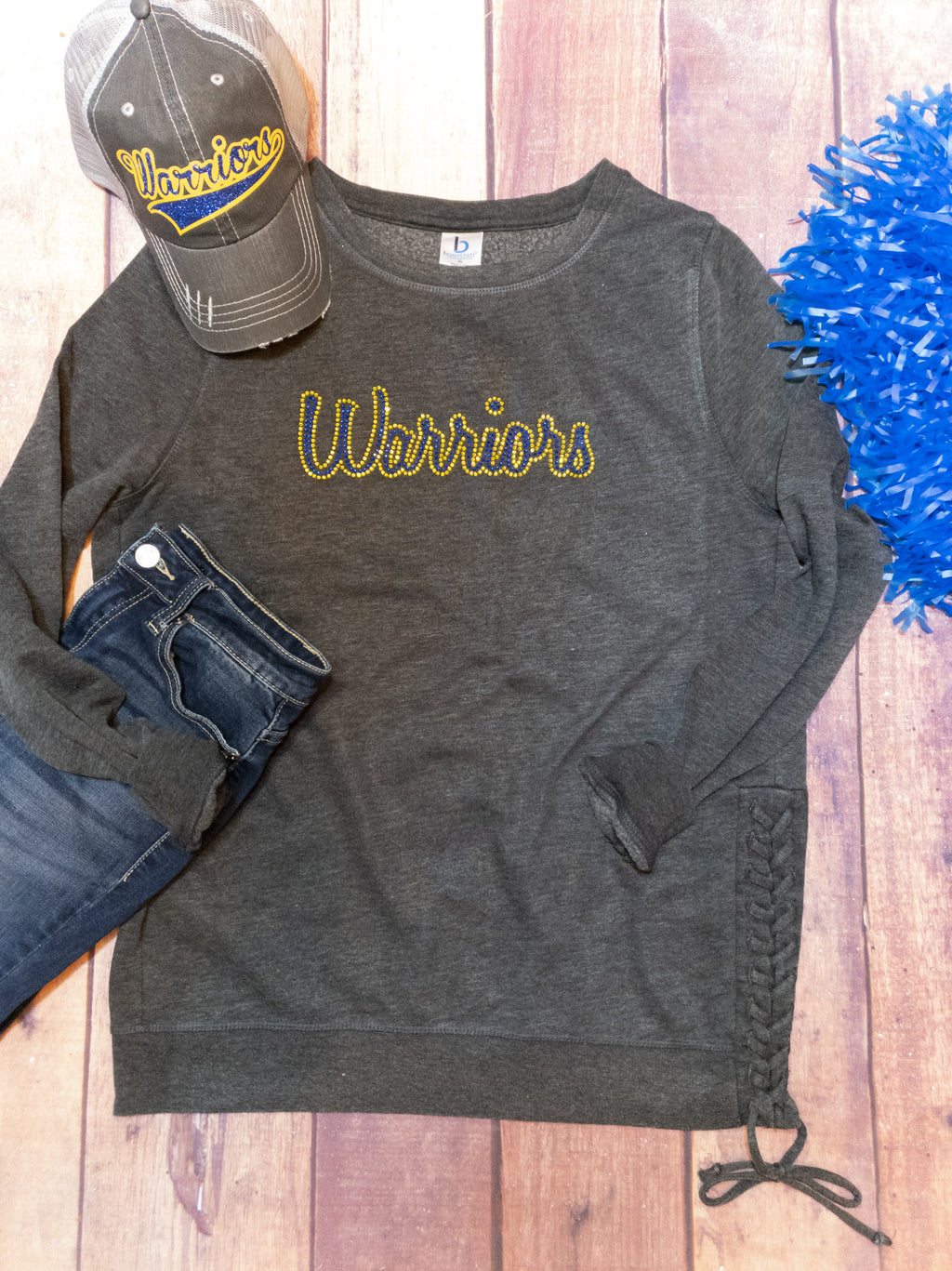 Warriors Blue and Gold Rhinestone Side Lace-Up