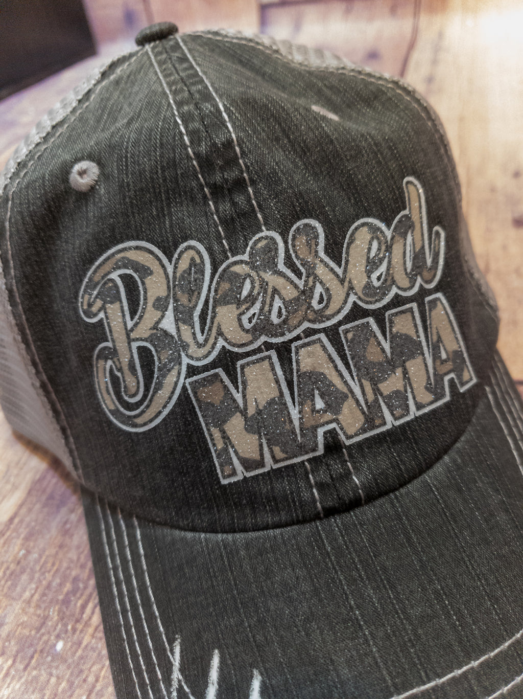 Blessed Mama Animal Print Trucker Hat