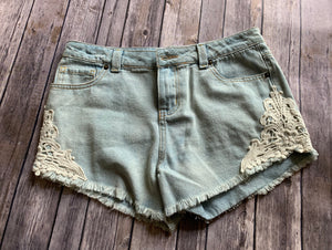 Light Colored Denim Shorts w/Lace Accents