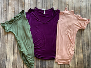 Ladder Cutout Sleeved Tops in Purple, Olive & Pink