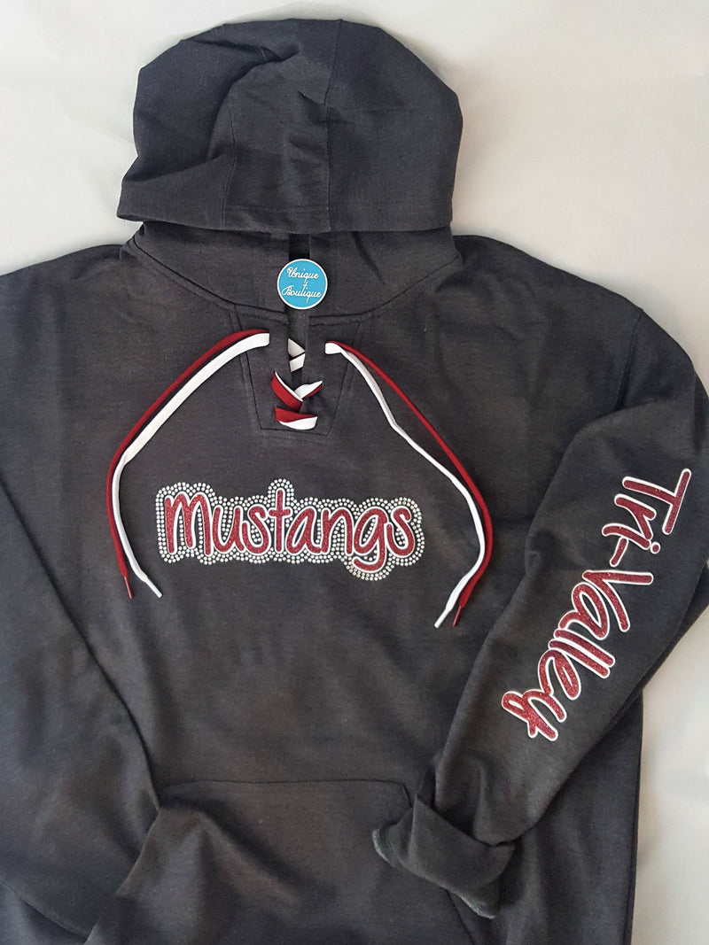 Mustangs Tri-Valley Rhinestone Lace-Up Hoodie