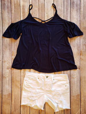 Criss-Cross Navy Off The Shoulder Short Sleeve Top