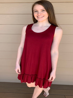 Ruffle Tank Dress  Available in Burgundy & Purple
