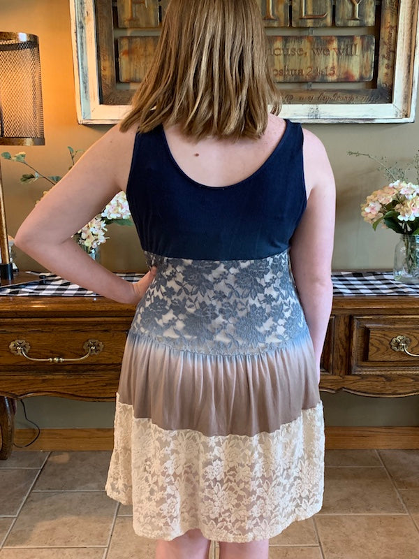 Tiered Ombre Lacy Tank Dress