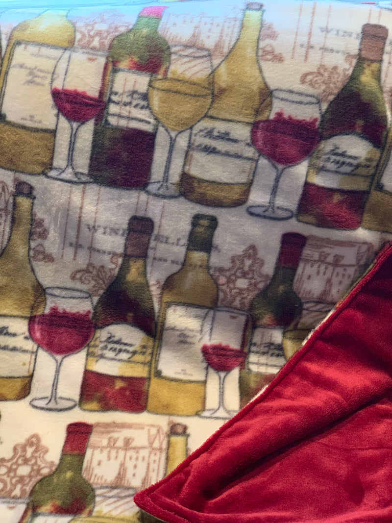 Wine Bottles and Glasses Throw with Rhubarb Minky