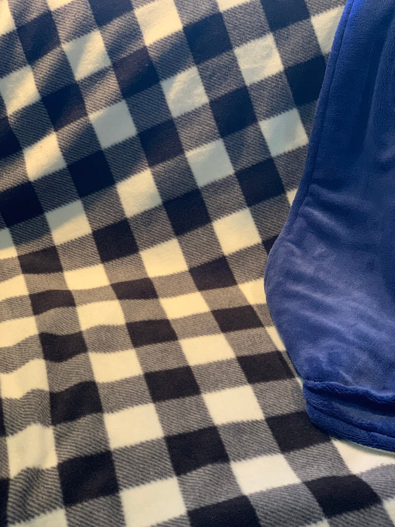 Plaid Checkered Plush Blanket with Blue Minky