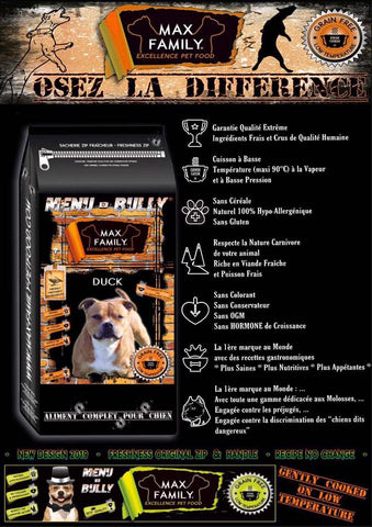 MAX FAMILY PET FOOD MENU BULLY DUCK- OSEZ LA DIFFÉRENCE