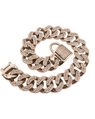 "Bully-Shop.com ""THE DIAMOND"" Collier Miami Cuban Link 32mm Rose"