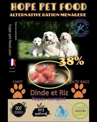 Bully-Shop.com HOPE PET FOOD chiot ALTERNATIVE RATION MENAGERE Dinde et Riz