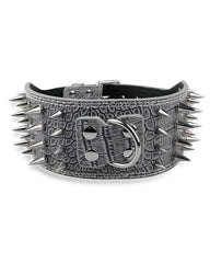 "Bully-Shop.com ""MENACE"" Collier Cuir PU anti morsures GRIS"