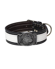 "Bully-Shop.com ""SLEEN"" Collier Cuir PIT BULL Fabrication Artisanale Blanc/Noir"