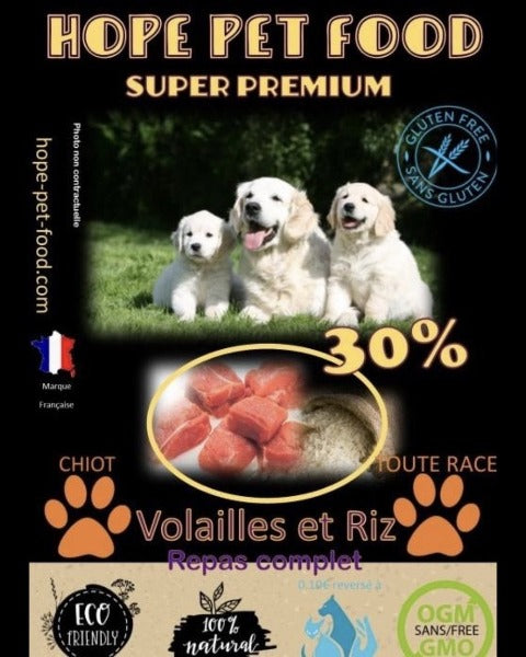 Bully-Shop.com HOPE PET FOOD chiot SUPER PREMIUM Volailles et Riz