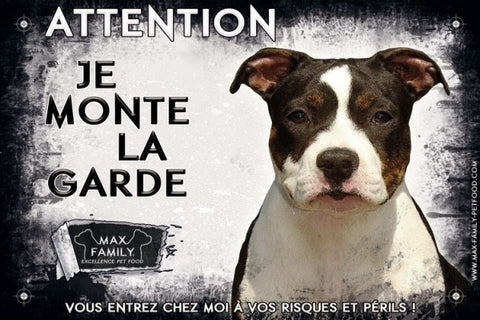 Bully-Shop.com Attention au chien, Panneau Blanc chien méchant, je monte la garde MAX FAMILY PET FOOD