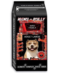 Bully-Shop.com Alimentation sans cereales MENU BULLY ADULTE LARGE sac 12 kg- Dinde, Croquettes Sans Céréales MAX FAMILY EXCELLENCE PET FOOD GRAIN FREE