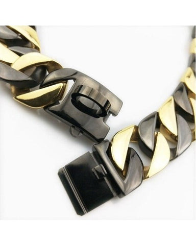 "Bully-Shop.com ""BALBOA Gold & Black"" Collier Miami Cuban Link 32mm  Or et Noir"