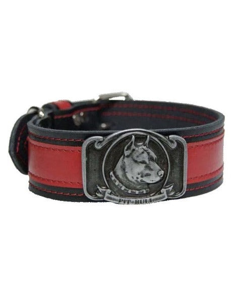 "Bully-Shop.com ""SLEEN"" Collier Cuir PIT BULL Fabrication Artisanale Rouge/Noir"