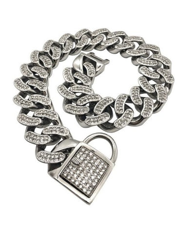 "Bully-Shop.com ""THE DIAMOND"" Collier Miami Cuban Link 32mm Argent"