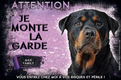 Bully-Shop.com Attention au chien, Panneau Violet chien méchant, je monte la garde MAX FAMILY PET FOOD