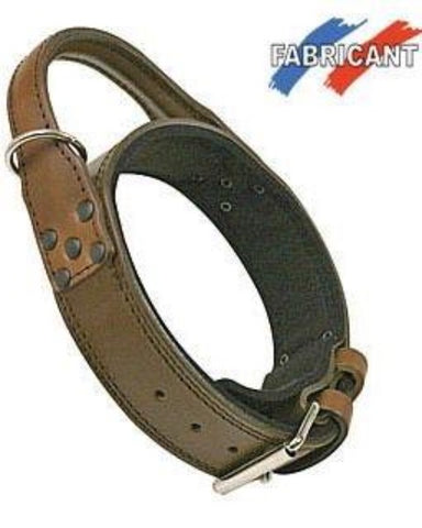 "Bully-Shop.com ""DIFAC"" Collier Cuir d'intervention Marron 48mm"