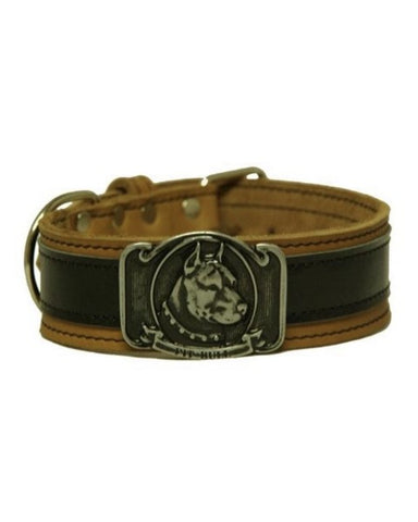 "Bully-Shop.com ""SLEEN"" Collier Cuir PIT BULL Fabrication Artisanale Noir/Marron"
