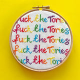 Fuck The Tories rainbow cross stitch kit