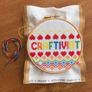 Craftivist cross stitch kit in support of Mermaids