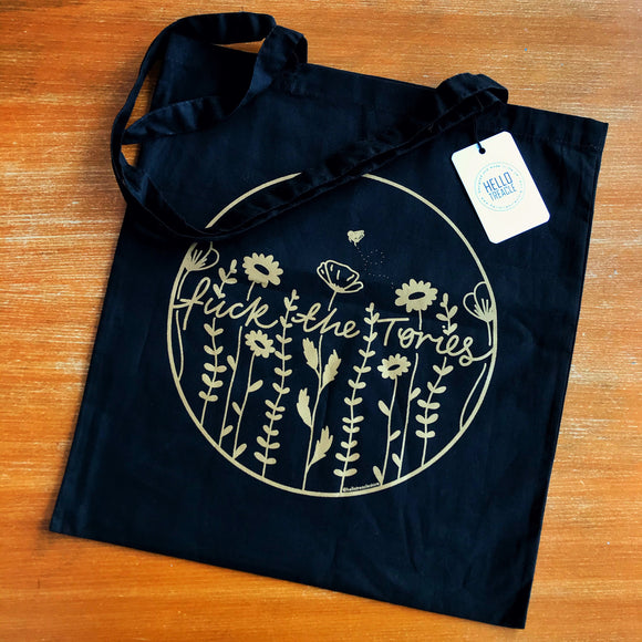 SECONDS Fuck the Tories floral tote bag