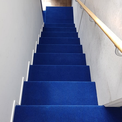 Blue carpet on stairs