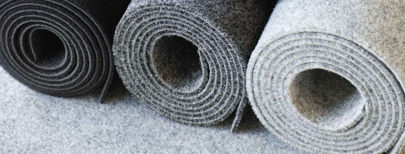 3 rolls of garage carpet side by side