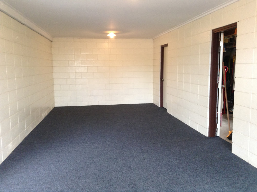 charcoal garage carpet laid