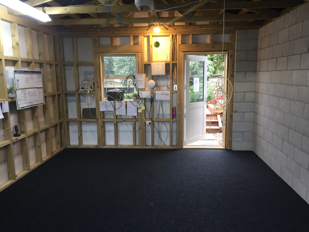 new garage with garage carpet installed