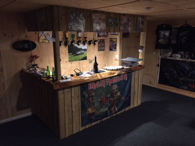 Man cave with garage carpet installed