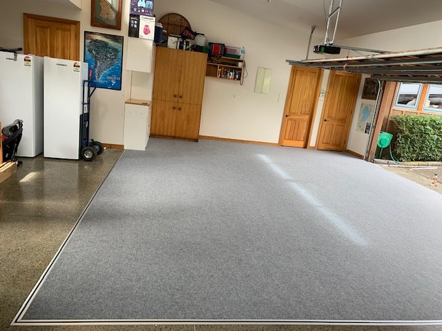 grey garage carpet using aluminium edging on a right angle