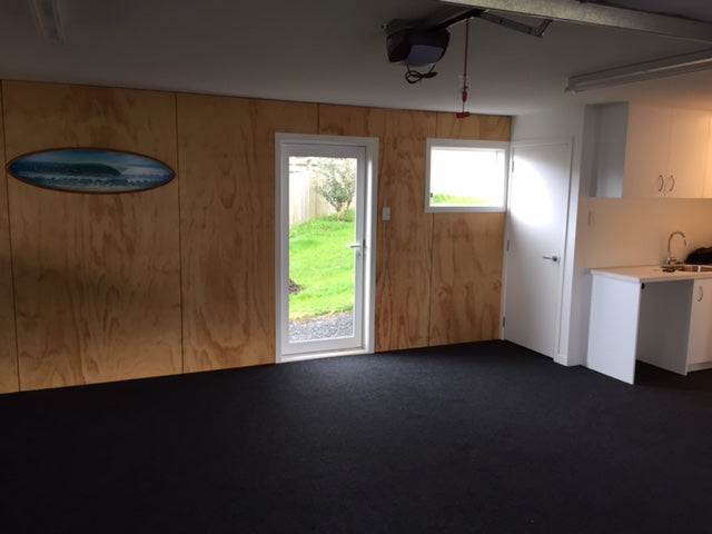 garage with plywood walls with garage carpet